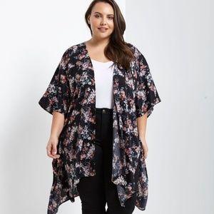 1x-3x New Plus Size Black Satin Floral Kimono